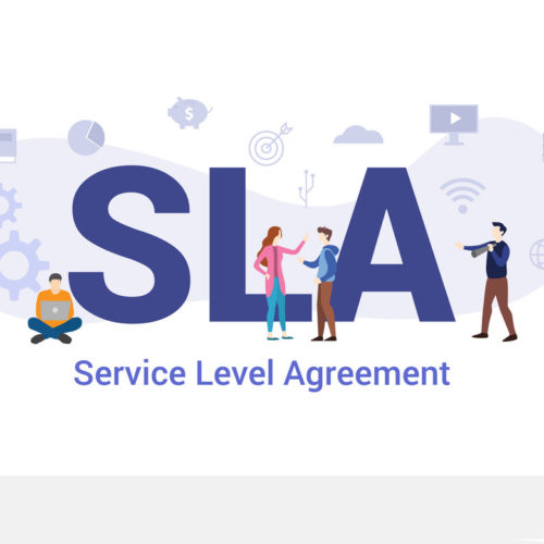 sla service level agreement concept with big word or text and team people with modern flat style - vector illustration